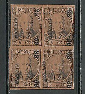 Mexico - Mail 1868 Yvert 43a Signature Roig MH Character Block Of Four
