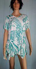 Jostar USA TEAL Green  Short Sleeve Tunic TOP V Neck Pointed Hem Wrinkle Free S