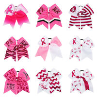7'' Breast Cancer Red Ribbon Cheer Bows with Elastic Band Girls Ponytail Holder