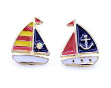Vintage retro style mismatched pirate ship sailing boat stud earrings