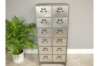 Tall Industrial Metal 12 Drawer Cabinet