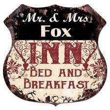 BPLI0167 Mr & Mrs FOX INN Bed & Breakfast Custom Personalized Tin Sign