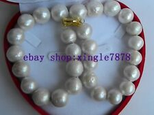 "Big!! Natural White Round 16-18mm Edison Keshi South Sea Pearl Necklace 20"" AAA"