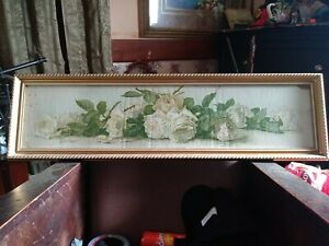 Antique Paul de Longpre Yard Long Print Framed STUDY OF ROSES