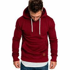 Men's Hoodies Slim Hooded Sweatshirt Outwear Sweater Coat Jacket Red #9