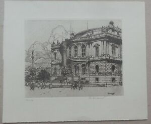 John C. Vondrous, View of Rudolfinum in Prague, Etching 1961