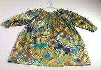 Unique Women's ¾ Sleeve Blouse Top 2X Plus Multicolor Floral Elastic Neck Cuffs