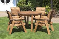 HGG Round Wooden Garden Table and 4 Chairs Dining Set - Outdoor Patio Furniture
