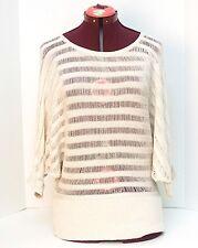 Elle Women's Sweater Top Size Medium Short Sleeve Cream Colored Threaded Sparkle