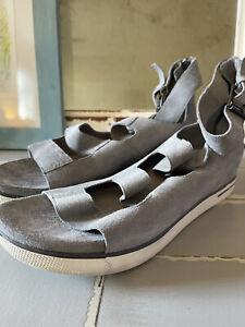 EILEEN FISHER Size 9 Grey Suede Sport Sandals Womens GUC