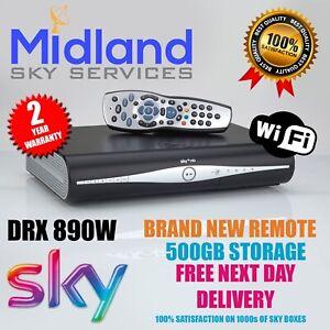 SKY+/PLUS HD BOX WiFi 500GB SLIMLINE RECEIVER/RECORDER +NEW REMOTE & POWER CABLE