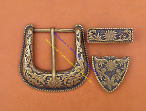 """Western Belt Buckle Three Piece Set Antique Brass Floral Design Unisex 1 1/2"""""""