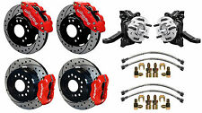 "WILWOOD DISC BRAKE KIT & DROP SPINDLES,71-87 CHEVY C10,GMC C15,12"" DRILLED,RED"