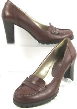 "A.N.A. Womens BROWN LEATHER PENNY LOAFER CAREER  STACKED 3"" HEEL PUMP SIZE 6 US"