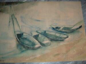 Aquarell - 4 Boote Kähne, datiert 58 VI.,  Alfred Wais, Stuttgart, 50er Jahre