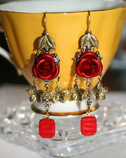 Enchanted forest Rose chandeleir leaf flower red vintage glass artisan earrings