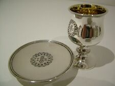 HM1825 ANTIQUE SOLID ENGLISH SILVER CHURCH COMMUNION CHALICE CUP & PATEN 328