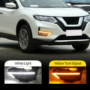 For Nissan Rogue X-Trail 2017 2018 LED DRL Daytime Running Light Fog Turn Signal