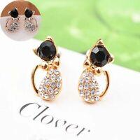 Ear 1 Pair Earrings Elegant Stud Gold Love Rhinestone Crystal Women Cats Animal