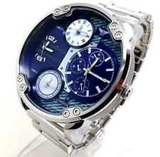 341A Men's Mr Daddy Wrist Watch Silver Band Large Chunky Chronograph Blue Dial