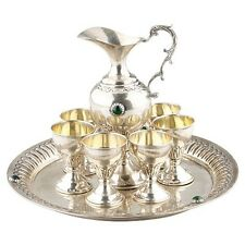 800 SILVER TRAY, PITCHER + 6 SMALL CHALICE CUPS GOBLETS