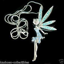 "Blue 3"" Big Fairy PIXIE w Swarovski Crystal ~Tinkerbell ANGEL Pendant Necklace"