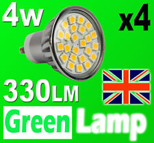 4 x GU10 24 SMD 5050 LED Bulb = 60W HALOGEN with cover glass 3000K Warm White