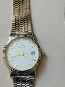 Rotary men's quartz wrist watch gold plate on stainless steel pre owned
