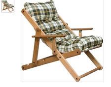 Sedia poltrona sdraio in legno con imbottitura verde regoIabile in 3 posizioni