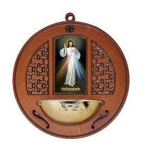 ACQUASANTIERA ROTONDA IN LEGNO TINTO NOCE CON IMMAGINE Gesù Misericordioso