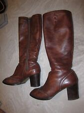 """Vtg Bally brand brown leather tall boots w square 2 3/4"""" heel, ladies' size 7"""