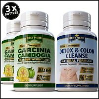 180 x Garcinia Cambogia Natural Diet Colon Detox Weight Loss Keto Slimming Pills