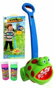 Childrens Portable Frog Bubble Machine Blower Outdoor Green Frog Lawnmower style