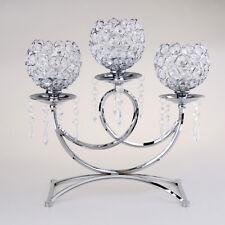 Crystal Votive 3 Arms Candelabra Candle Holder Stand Wedding Decor Silver