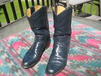 NAVY ALL LEATHER Justin Roper Boots Women's SIZE 7.5, Men's SIZE 6