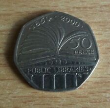 2000 British Libraries 50p Fifty Pence Piece Coin circulated
