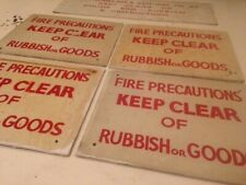 6 X VINTAGE SIGN WRITERS HAND WRITTEN ANTIQUE FIRE PRECAUTION ON WOOD