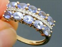 9ct Gold Tanzanite & Diamond Hallmarked Cluster ring size P