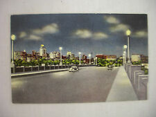 VINTAGE LINEN POSTCARD TOWN VIEW AT NIGHT FROM VIADUCT IN DALLAS TEXAS UNUSED