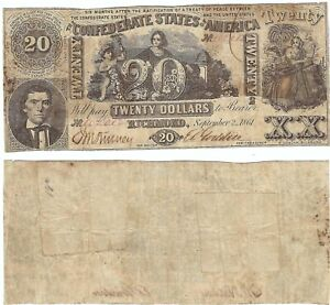 Confederate States of America, Cr.T20-141 $20 Sept. 2 1861 hc F