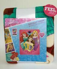 "New Disney Princess Ariel Rapunzel Belle Silky Soft Throw Blanket 40""x 50"""