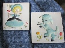 """Set Of Two Vintage Carved Relief Nursery Tiles Mary & Her Little Lamb 5.5"""" Tiles"""