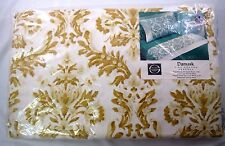 Vintage Damask Fine Percale Top Flat Sheet Pillowcases Double Full Gold 3 Pc NOS
