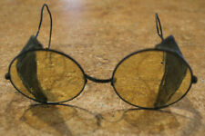 Antique Safety Glasses Round Lens Amber Folding Steampunk Look From the Past!
