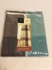 Park B Smith AQUA  Blue BROWN Meadowood SEASPRAY Curtain Panel Cafe Block NEW
