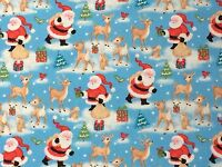 Christmas Fabric Remnant   50cm x 40cm 100% Cotton Father Christmas