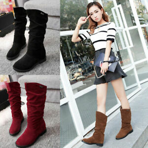 Women Winter Mid-calf Boots Princess Sweet Flat Shoes Snow Slouchy Knee High