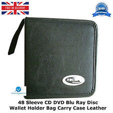 5 x  48 Sleeve CD DVD Blu Ray Disc Wallet Holder Bag Storage Carry Case Leather
