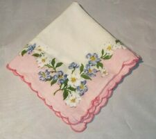 Vintage Ladies Handkerchief White with Pink Border Blue Flowers 11 x 11""