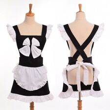 Women Sexy Bow Apron Japanese Princess Maid Cosplay Ruffles Aprons Homewear